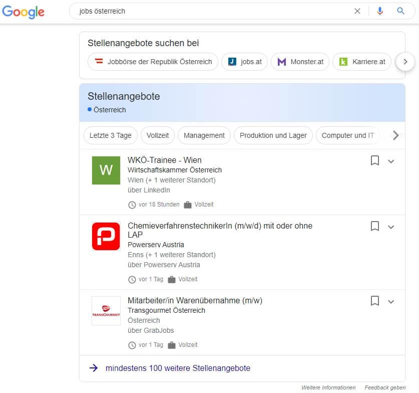 So sieht die Google Suchüberischt aus